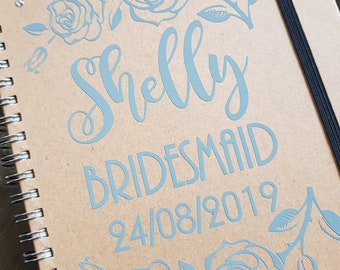 0 personalised notebook / note book / note pad / name note pad / kraft note pad / shabby note pad / bridesmaid box gift / bridal party