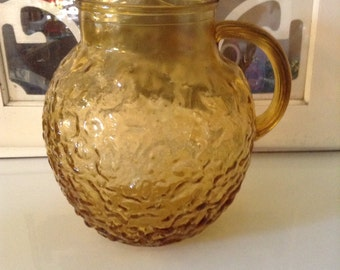1960's Anchor Hocking Amber Glass Pitcher