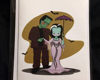 Lily And Herman Munster Card