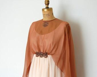 Emma Domb Beige and Latte chiffon full length Formal Dress
