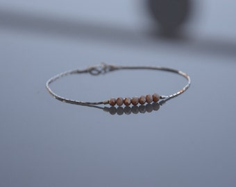 Bracelet and 925 sterling silver minimalist necklace - champagne glass beads
