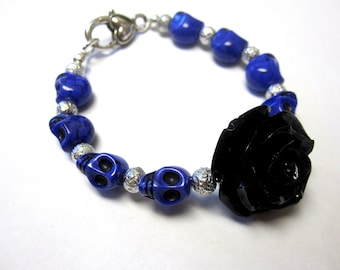 Purple Sugar Skull Bracelet Day of the Dead Jewelry Black Rose