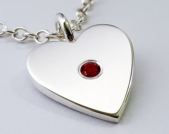 Garnet Heart Necklace Pendant in Sterling Silver - Sterling Silver Heart Necklace, Sterling Silver Heart Pendant, Garnet Heart Pendant