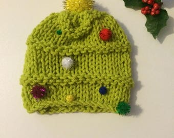 Ready to ship knitted Christmas tree hat