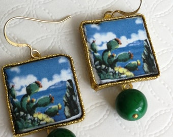 Caltagirone Ceramic earrings, green and silver ceramic pearls, Sicilian earrings