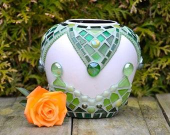 Green glass and ceramic mosaic vase.