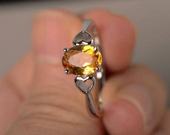 November Birthstone Wedding Ring Natural Citrine Ring Oval Cut Yellow Gemstone Ring Solitaire Ring Sterling Silver Ring