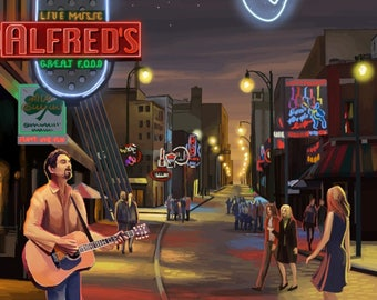 Memphis, Tennesseee - Memphis at Night (Beale Street) - Lantern Press Artwork (Art Print - Multiple Sizes Available)