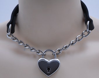 Leather and chain submissive day collar type 1 (lock included) - Free US Shipping