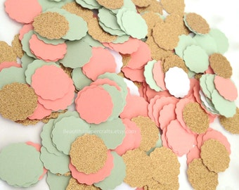 Mint, Coral and Gold Glitter Confetti   Mint and Coral Gold Bridal Shower   Table Decor   Mint and Gold Party   Wedding Confetti   150 CT