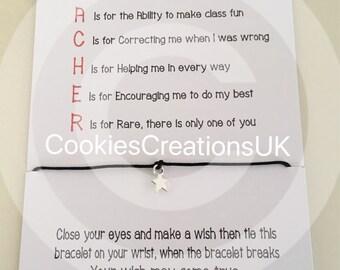 Teacher Gift, Teacher Wish Bracelet ,Wish Bracelet, Gift, Teacher Thank you , Card, Gift Set