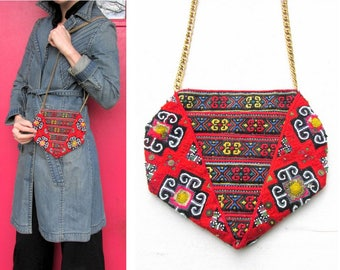 Vintage Purse with Beaded Tribal Textile and Gold Chain Handle