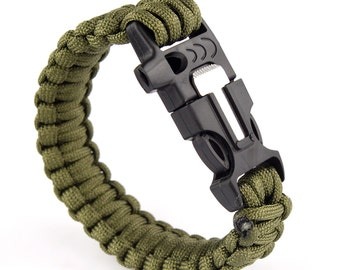 Paracord Survival Bracelet with fire starter flint, whistle and cutter prepper hiking camping outdoorsy campfire backpacking
