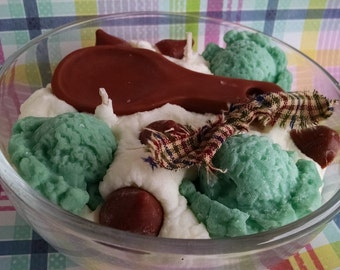 Mint, Schoko, Löffel Schüssel, Soja-Wachs-Kerze, Dessert Kerze, duftende Bäckerei, kreative Kerze, stark duftende Kerze Süßwaren
