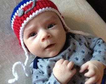 HOCKEY BABY HAT Baby Crochet Hockey Baby Boy, Baby Hockey Hat, Knit Baby Boy Hats, Knitted Hockey, Red Blue Hockey, Newborn Hockey Toque Red