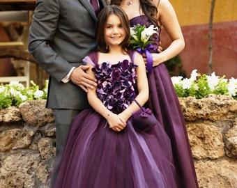 Flower girl dress, Eggplant Flower girl Dress, Wedding dress, Deep Purple tutu dress, flower top, hydrangea top, toddler tutu dress