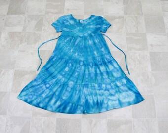3 Tiered ruffle dress, Short sleeved tie dye dress, Girls tie dye dress, Blue spiral dress, Tiered swing dress,
