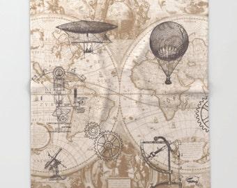 Steampunk Blanket throw - map, hot air balloon, retro,  sofa, couch, bed, travel decor, minimal, soft, brown, beige, winter, warm,