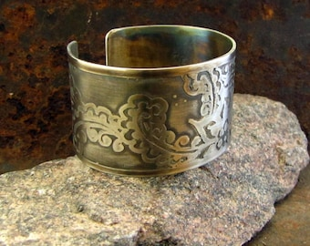 Wide Cuff Bracelet, Henna Motifs Etched in Silver-Colored Brass