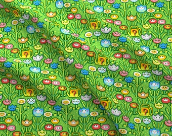 8 Bit Fabric - 8bit Flowergarden By Irrimiri - 8 Bit Video Game Pixel Flowers Retro Colorful Cotton Fabric By The Yard With Spoonflower