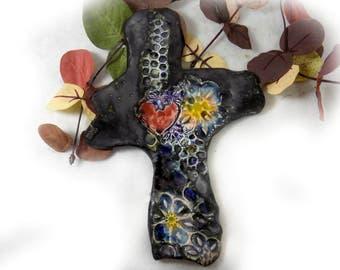 Handmade ceramic wall cross - OOAK Wall Cross - Sculpture Ceramic Cross - Home Decor Cross - Cross for Wall - Decorated Art Wall Cross,  # 1