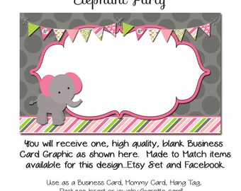 Custom PreMade Business Cards - Elephant Party - Etsy Custom Template Made to Made Facebook and Etsy Store Set Also Available
