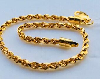Solid Rope bracelet 22k 916 gold bracelet