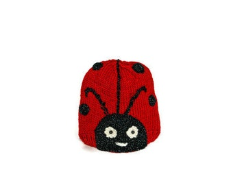 Baby Knit Hat, Animal Hat for Kids, 6-18 months, Handmade Knit Baby Hat, Lady Bug Hat for Baby