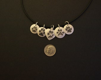 Paw Print Necklace -Your Pet's Prints! Custom Print Jewelry
