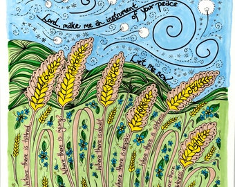 Prayer of St. Francis Print with wheat fields, dandelions - hand-drawn contemporary whimsical illustration, square 12x12