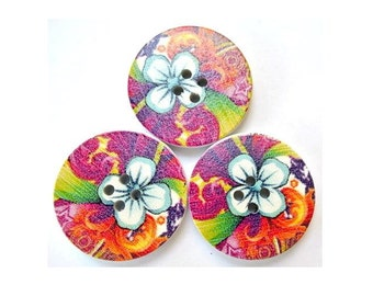 6 Wood buttons 30mm BEAUTIFUL flowers design