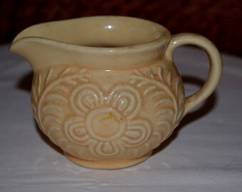 20 % OFF - Vintage Yellow Shawnee Flower And Fern USA Pottery Creamer