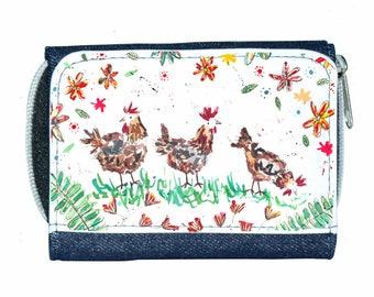 Chicken denim purse, navy purse, denim purse, hens gift, chicken wallet, hens purse, hens, chickens
