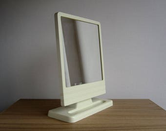 Vintage dressing table mirror / 1970s cream plastic shaving mirror / Free-standing vanity mirror or wall-hanging mirror