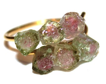 Watermelon Tourmaline Ring Raw Stone Ring Watermelon Slice Ring Raw Tourmaline Skinny Ring Boho Stacking Ring Modern Ring Raw Stone Jewelry