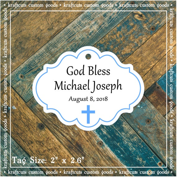 Personalized Baptism, Christening or First Communion God Bless Religious Favor Tags - Baby Boy Blue Border #780 - Quantity: 30 Tags