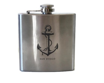 San Diego Flask / Keep Calm Encinitas Flask / Gift for Him