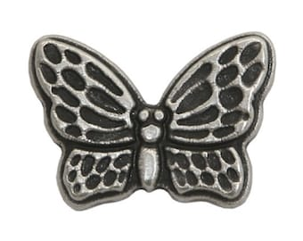 6 Butterfly 13/16 inch ( 21 mm ) Metal Buttons Antique Silver Color