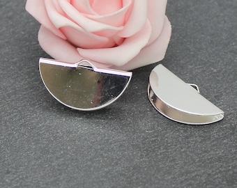 4 tips clasps silver half moon stick copper 28 x 16 mm AP129
