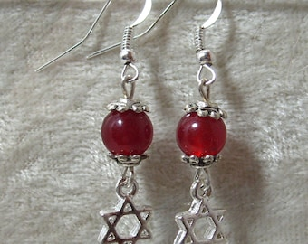 Star of David Earrings - Red Sardonyx