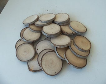 NEW - Wood Slices - 25 Blank White Tree Branch slices,Drilled - Tags Supplies - Wedding Supplies - Jewelry Supplies - 2 1/2 in diameter.