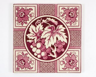 Antique 1890s Victorian Minton transfer printed grape and vine pottery tile