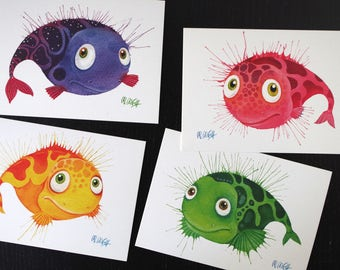Postcards set fish, art postcard, watercolour, 4 postcard set