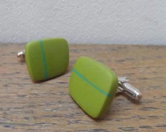 Green cufflinks - resin cufflinks with turquoise stripe