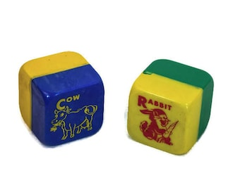 Vintage Plastic Rattle Blocks - Mid Century Toy Rattles, Colorful Red, Yellow, Green, Blue Rattles,