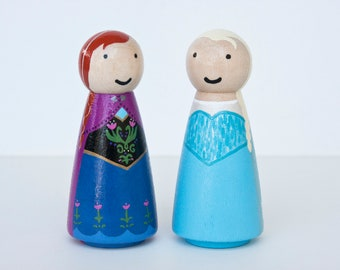 Frozen Anna and Elsa peg dolls