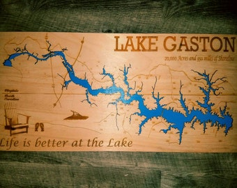 Beautiful 12 X 24 Custom Laser Engraved map of Lake Gaston.  Engraved and cut on Birch Wood.