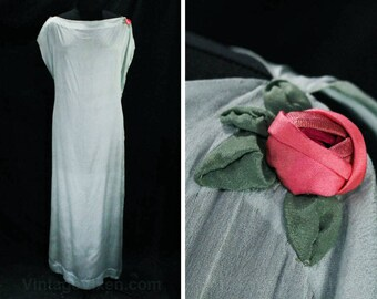 XL 1920s Dress - Authentic 20s Blue Silk Sheer Chemise - Rose Applique - Grecian 1910's 20's Goddess Chic - All Hand Sewn - Bust 46 - 49459