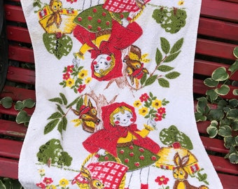 Vintage 100% Cotton Trophy by Cannon Mills Little Red RIding Hood Bath Towel with Fringe