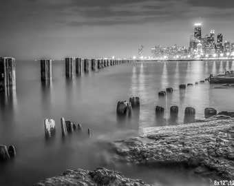 B&W Chicago Skyline Photography- Chicago Lakeshore Art Print, Black and White Photo, Chicago On Wood Block, Chicago Skyline Canvas, Wall Art